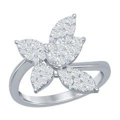 18 Karat White Diamond Flower Ring