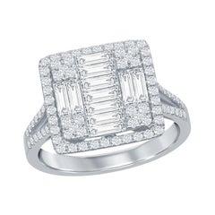 18 Karat White Emerald Cut Diamond Ring