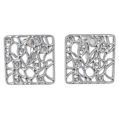 18 Karat White GIA Diamond Cufflinks