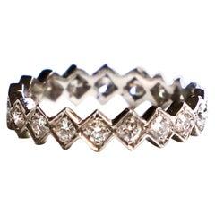 """Rossella Ugolini 18 Karat White Gold 0.15 Karat White Diamonds """"Cubes"""" Band Ring"""