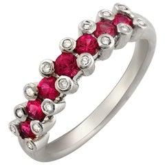 18 Karat White Gold 0.16 Carat Diamonds and 0.86 Carat Ruby Wedding Band Ring