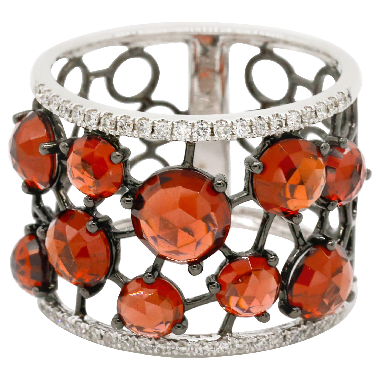 18 Karat White Gold 0.20 Carat Diamond Pave Red Garnet Wide Wrap Band Ring