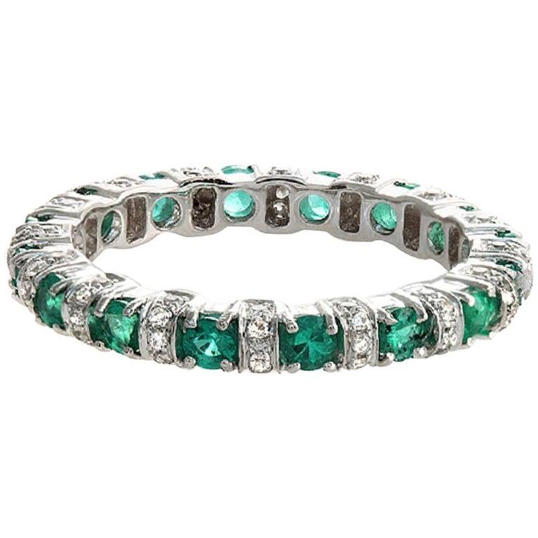 Emerald Wedding Band.18 Karat White Gold 0 32 Carat Diamonds And 0 89 Emerald Wedding Band Ring