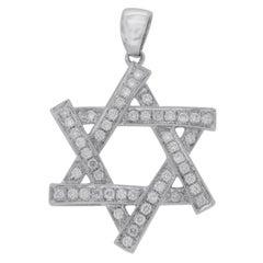 18 Karat White Gold 0.54 Carat Diamonds Jewish Star of David Pendant Necklace