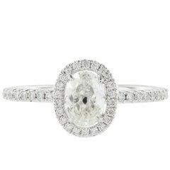 18 Karat White Gold 0.55 Carat Oval Cut Diamond Ring