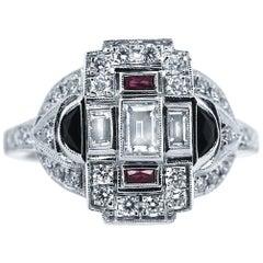 18 Karat White Gold 0.75 Carat Diamond 0.40 Carat Combined Ruby and Onyx Ring