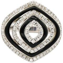 18 Karat White Gold 0.75 Carat Diamond Pave Black Onyx Cocktail Ring