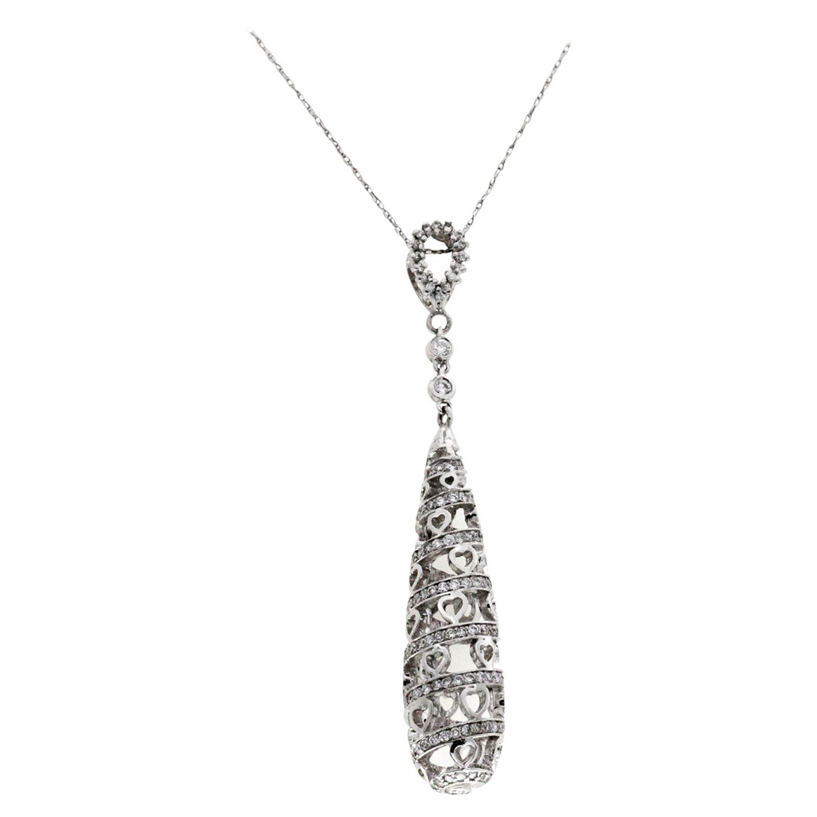 18 Karat White Gold 0.75 Carat Diamonds Spiral Drop Necklace