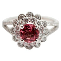 18 Karat White Gold, 0.84 Carat Diamond and 0.50 Carat Pink Tourmaline Ring