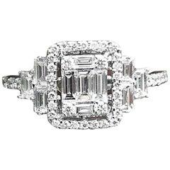 d2c11ec4395e56 GVS 0.66 Carat Square Diamond Cocktail Ring 18 Karat White Gold ...