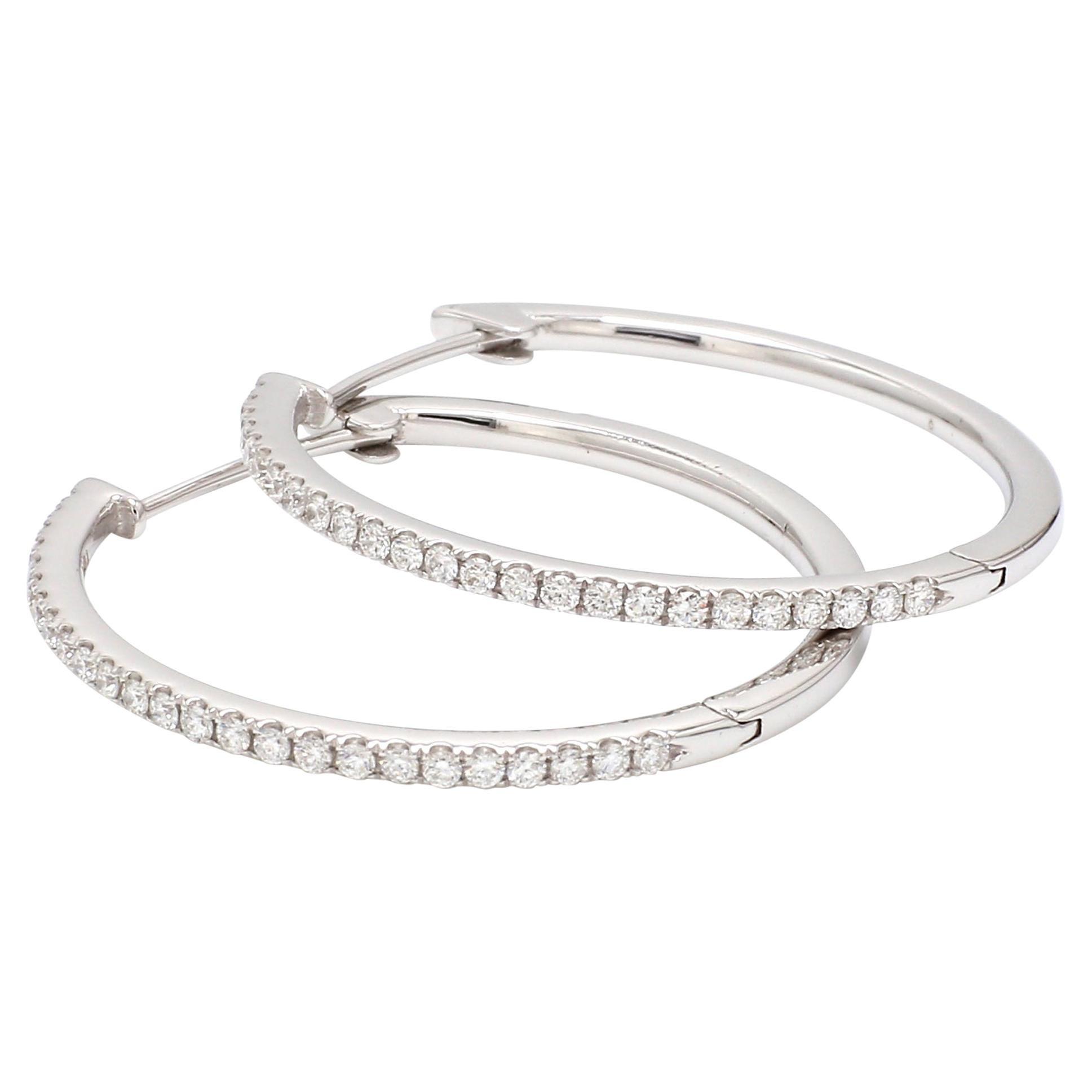 18 Karat White Gold 1/2 Carat Diamond Hoop Earring