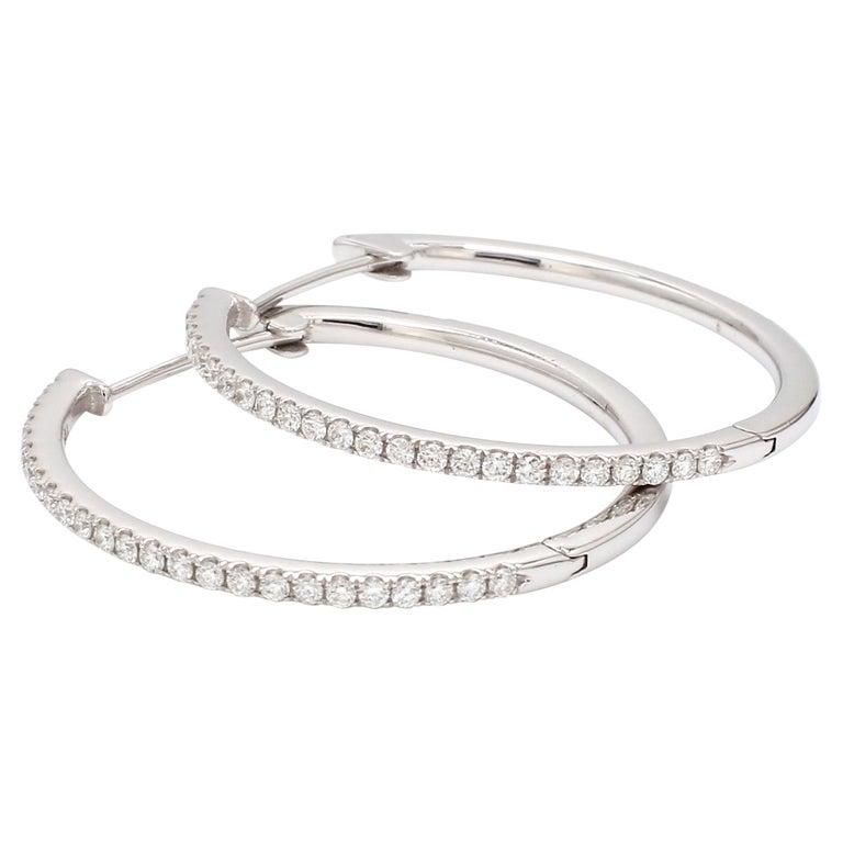 18 Karat White Gold 1/2 Carat Diamond Hoop Earring For Sale