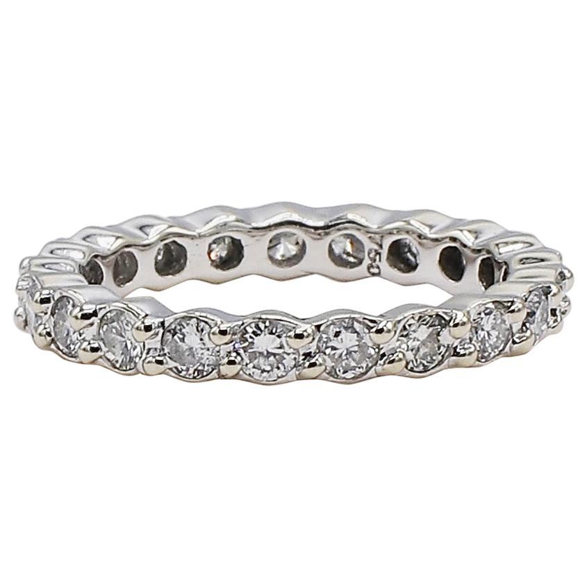 18 Karat White Gold 1 Carat Diamond Eternity Band Ring