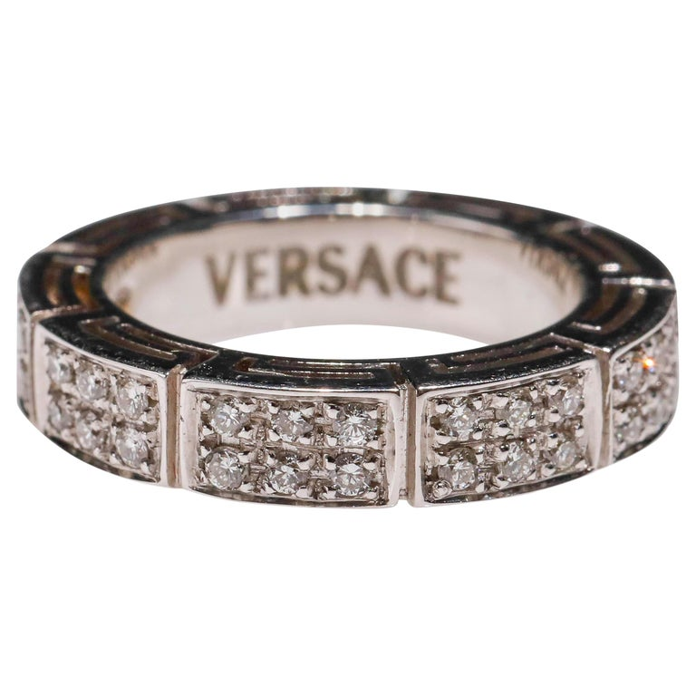 18 Karat White Gold 1 Carat Round Cut Pave Diamond Eternity Band Ring by Versace For Sale