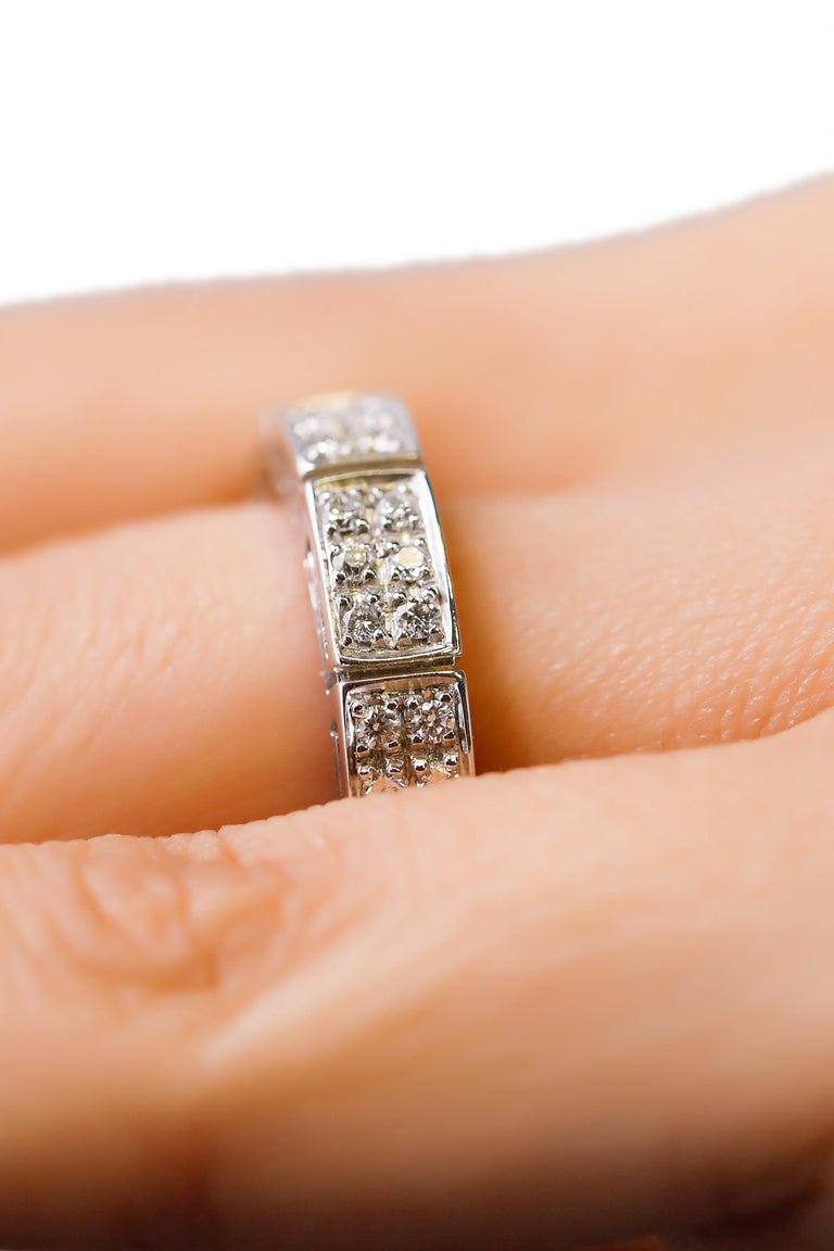 18 Karat White Gold 1 Carat Round Cut Pave Diamond Eternity Band Ring by Versace In New Condition For Sale In New York, NY