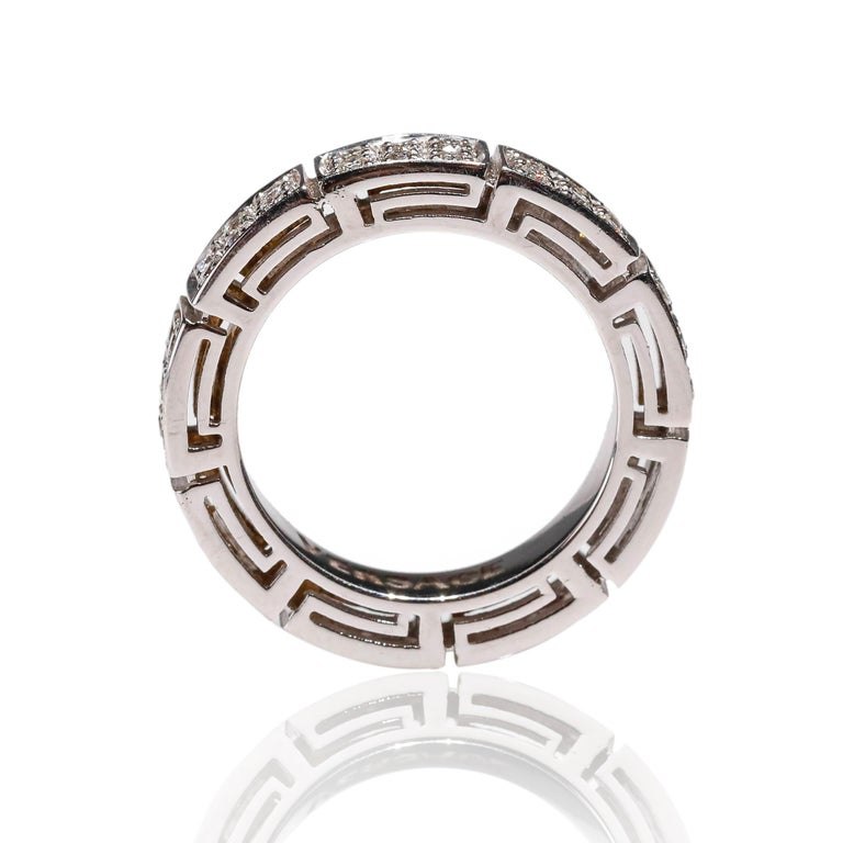 18 Karat White Gold 1 Carat Round Cut Pave Diamond Eternity Band Ring by Versace For Sale 2