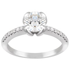 18 Karat White Gold 1 Karat Diamond Engagement Ring