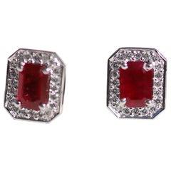 18 Karat White Gold 1 Karat Ruby and 40 0.01 Karat Diamonds