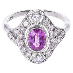 18 Karat White Gold 1.00 Carat Pink Sapphire Diamond Cocktail Ring
