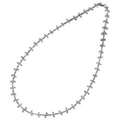 PANIM 100 Carat Diamond Briolette Floral Necklace set in 18 Karat White Gold