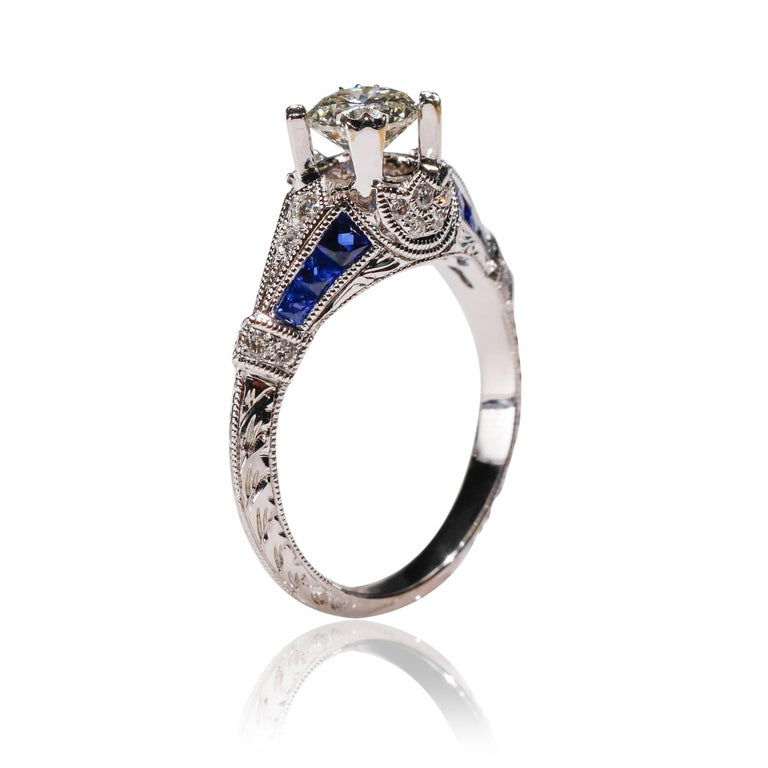 18 Karat White Gold 1.03 Carat Diamond 0.22 Carat Sapphire Engagement Ring In New Condition For Sale In New York, NY