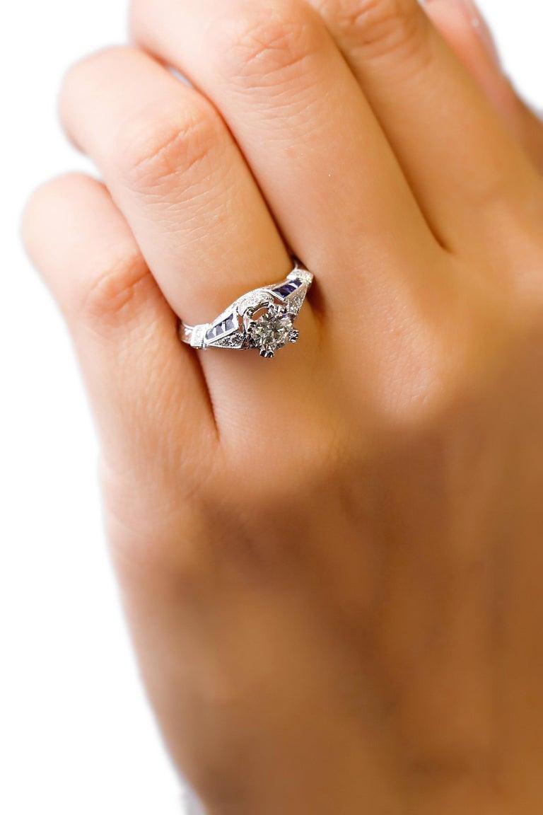 Women's 18 Karat White Gold 1.03 Carat Diamond 0.22 Carat Sapphire Engagement Ring For Sale