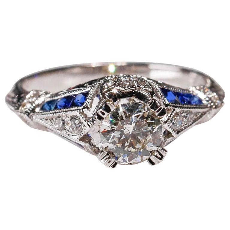 18 Karat White Gold 1.03 Carat Diamond 0.22 Carat Sapphire Engagement Ring For Sale