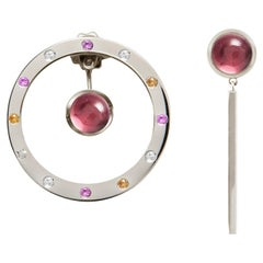 18 Karat White Gold 10.4, Diamonds, Sapphires and Tourmaline Cabochon Earrings