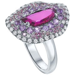 18 Karat White Gold 1.06 Carat Unheated Natural Red Mozambique Ruby Ring