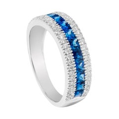 18 Karat White Gold 1.07 Carat Blue Sapphire and Diamond Eternity Half-Band Ring