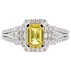 18 Karat White Gold 1.07 Carat Emerald Cut Yellow Sapphire Diamond Ring