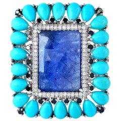 18 Karat White Gold 10.7 Carat Tanzanite Turquoise Diamond Ring