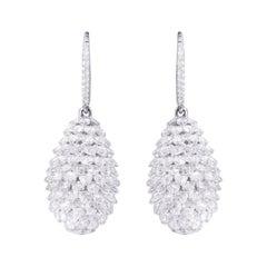 18 Karat White Gold 10.72 Carat Diamond RoseCut Pineapple Drop Cocktail Earrings