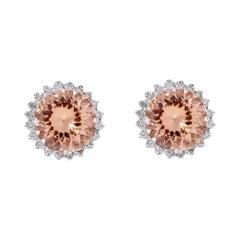 18 Karat White Gold 10.78 Carat Morganite and Diamond Cluster Stud Earrings