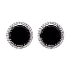 18 Karat White Gold 1.10 Carat Diamond and Black Onyx Cufflinks