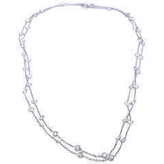 18 Karat White Gold 11.24 Carat Diamonds by The Yard Necklace