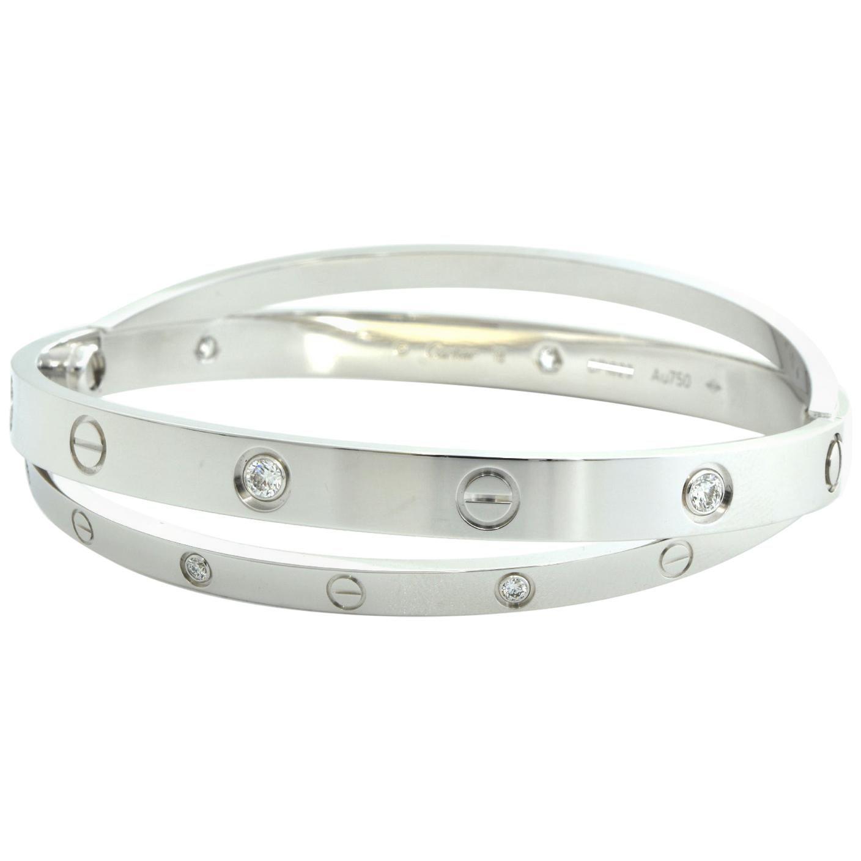 18 Karat White Gold 12 Diamond Double Cartier LOVE Bracelet 18