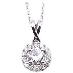 18 Karat White Gold 1.25 Carat Diamond Pendant on 14 Karat White Gold Chain
