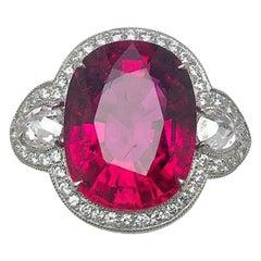 18 Karat White Gold  12.82 Carat Rubellite and Diamond Ring
