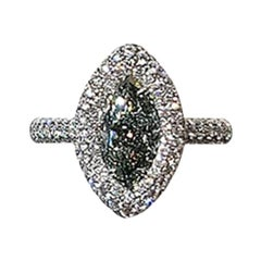 18 Karat White Gold 1.36 Carat Chameleon Fancy Gray-Yellowish Green Diamond Ring