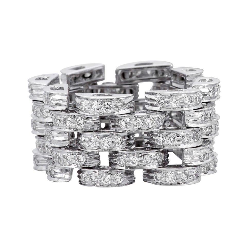 18 Karat White Gold 1.37 Carat Diamond Brilliant-Cut Eternity Link Band Ring
