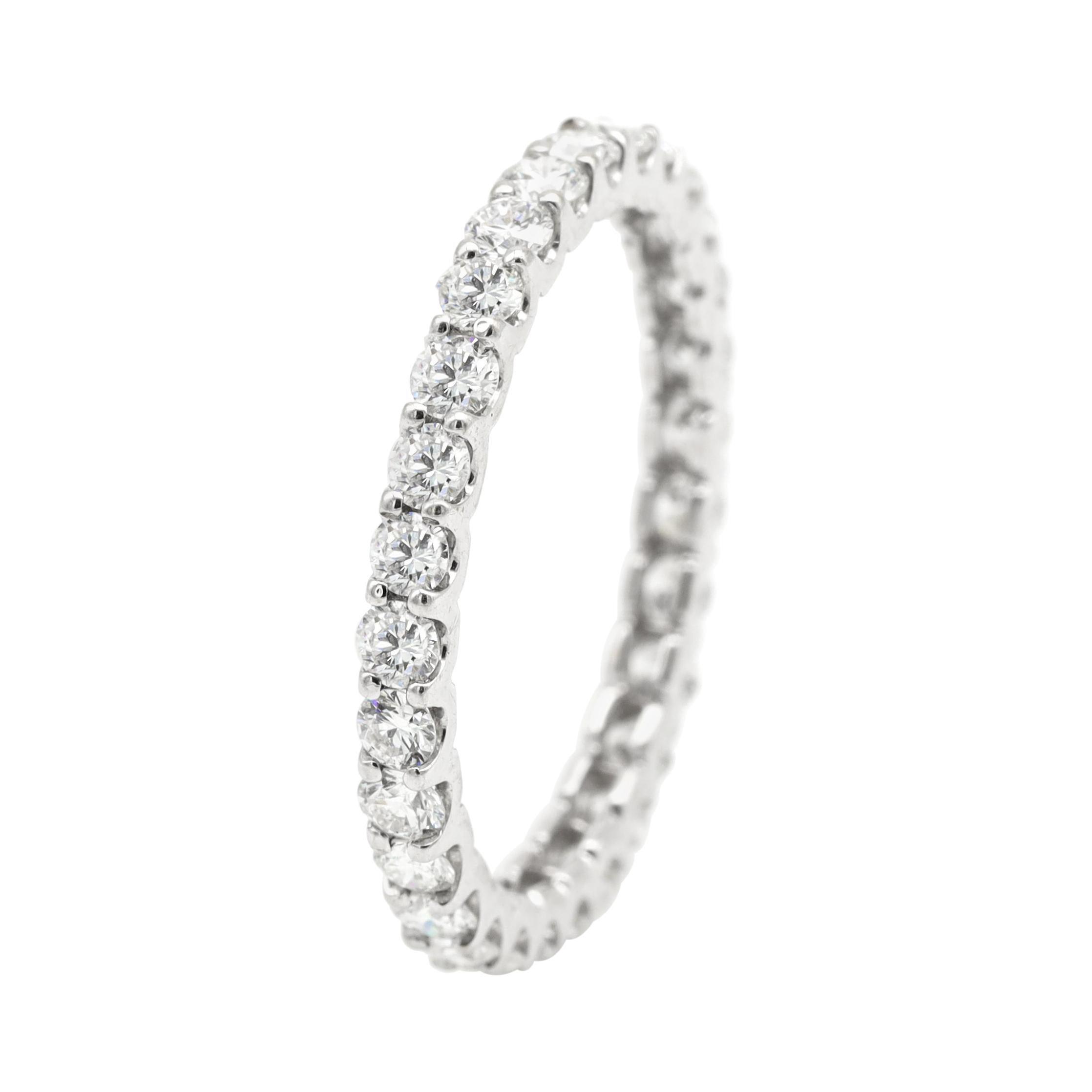 18 Karat White Gold 1.38 Carat Diamond Brilliant-Cut Eternity Full Band Ring