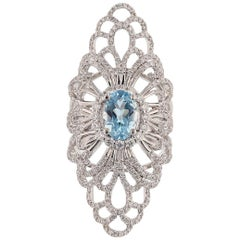 18 Karat White Gold 1.40 Carat Oval Aquamarine Diamond Ring