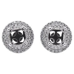 18 Karat White Gold 1.46 Carat Diamond Stud Halo Earring Jackets