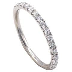 18 Karat White Gold .15 Carat Half Diamond Wedding Band Ring