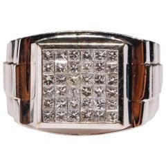 18 Karat White Gold 1.5 Carat Round Pavé Diamond Ring