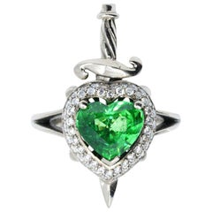 18kt White Gold, Tsavorite Garnet and Diamond Seductive Heart and Dagger Ring