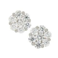 18 Karat White Gold 1.55 Cttw. Diamond Cluster Stud Earrings
