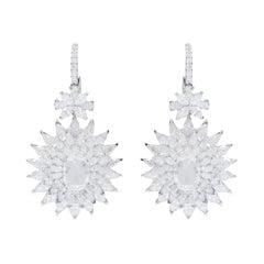 18 Karat White Gold 15.62 Carat Diamond Cocktail Drop Earrings