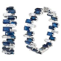 18 Karat White Gold 17.14 Carats Sapphire and Diamond Hoop Earrings